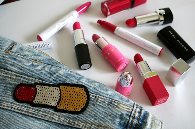 iron on, denim, pink lipsticks