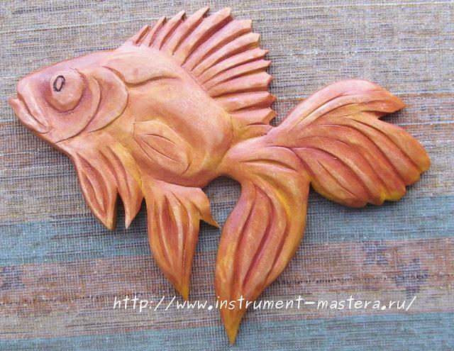 золотая рыбка из дерева