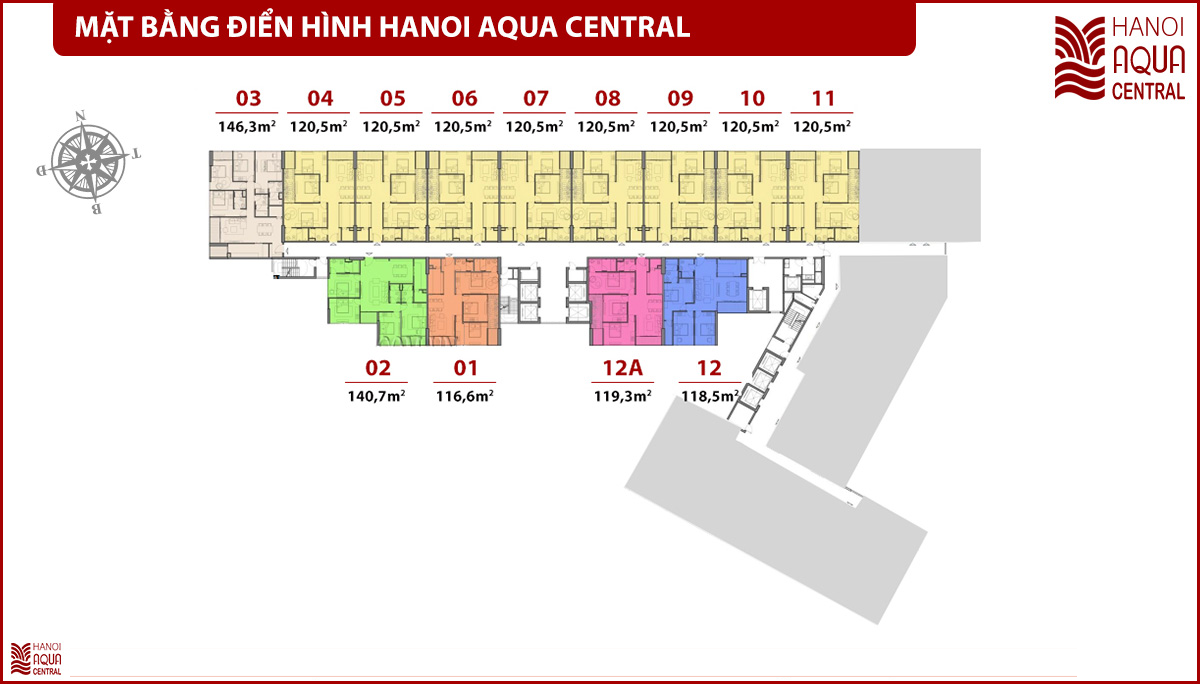 Mặt bằng Hanoi Aqua Central 44 Yên Phụ