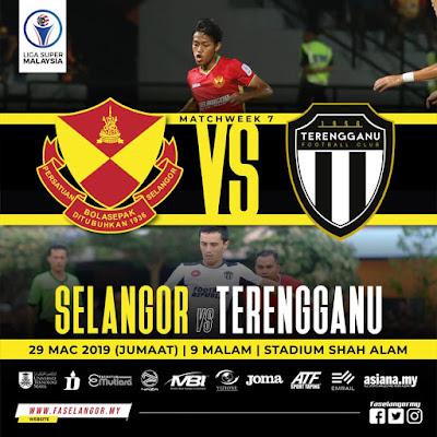 Live Streaming Selangor vs Terengganu Liga Super 29.3.2019