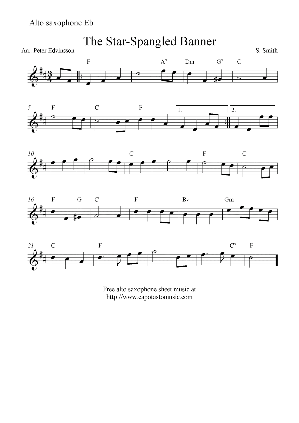 photo relating to Free Printable Alto Saxophone Sheet Music titled The Star-Spangled Banner, cost-free alto saxophone sheet audio notes