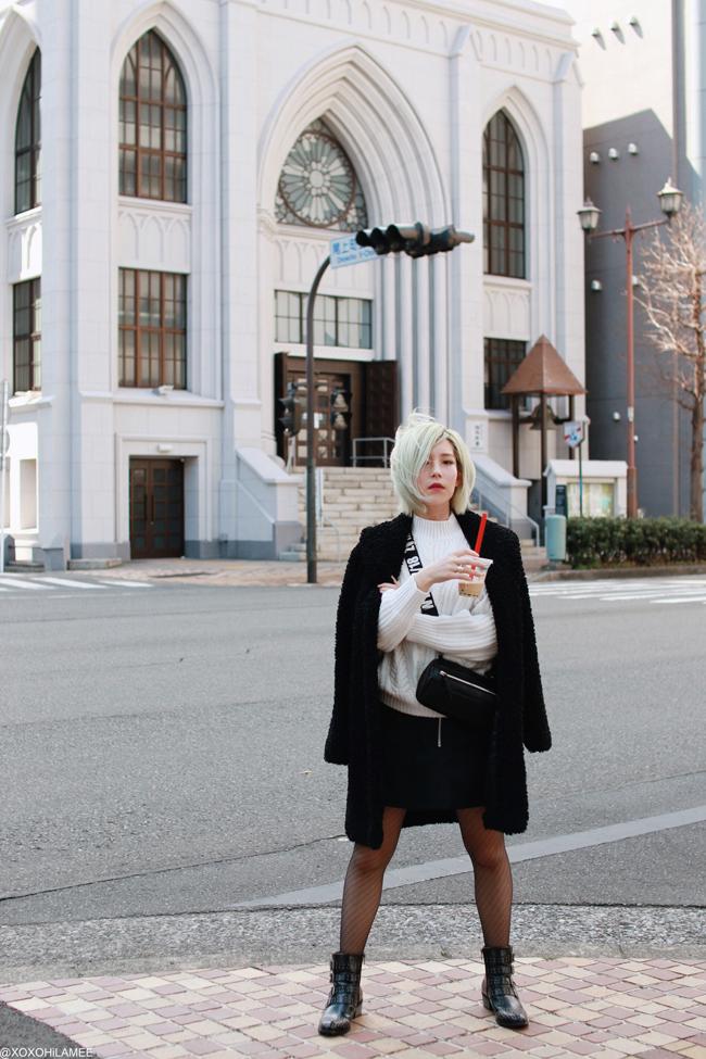 Japanese fashion blogger,MizuhoK,20190321OOTD, CHICWISH=coat, GU=knit sweater, hand me down=skirt, Tutuanna=tights, SheIn=belt boots, ZARA=BAG