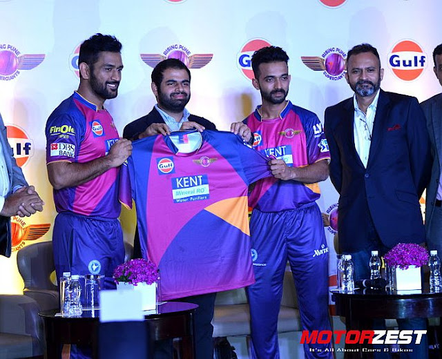 MS Dhoni and Ajinkya Rahane Unveil new Rising Pune Supergiants Jersey