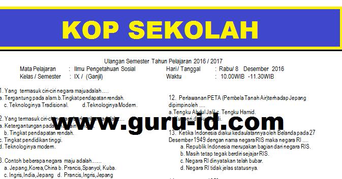 Soal Ips Kelas 9 Semester 1 Kurikulum 2013 Dan Jawabannya Pilihan Ganda Info Pendidikan Terbaru