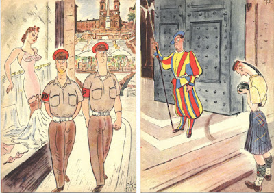 English Soldiers Rome colour post cards World War 2