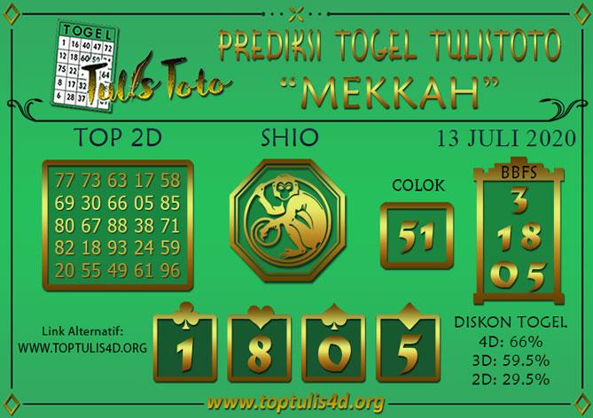 Prediksi Togel MEKKAH TULISTOTO 13 JULI 2020