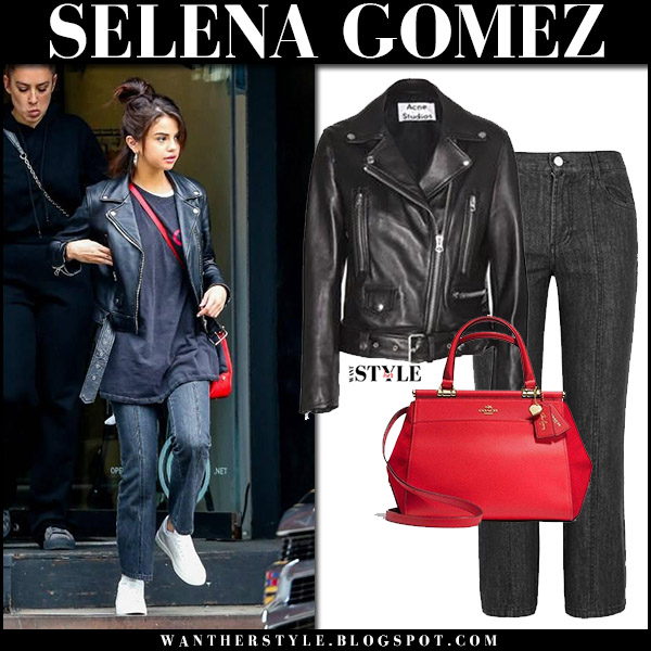 Selena Gomez in black leather acne jacket, black jeans and white sneakers september 2 2017 streetstyle