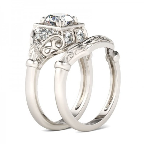 Jeulia Art Deco Milgrain 1.26CT Round Cut Created White Sapphire Wedding Set -The Price: $149.95