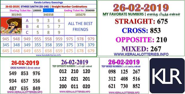 Sthree sakthi SS-146 Kerala lottery abc guessing by keralalotteries.info