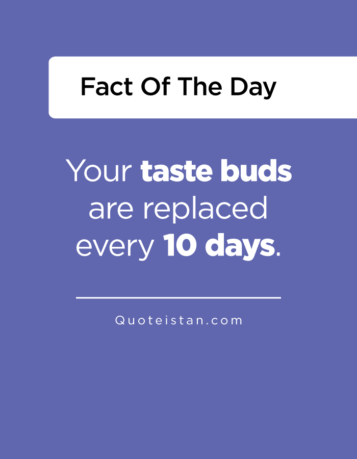 Your taste buds are replaced every 10 days.