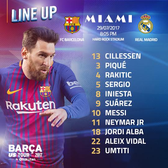 Susunan Pemain Real Madrid vs Barcelona - El Clasico Miami ICC 2017