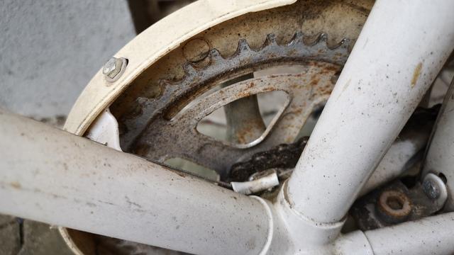 Fahrradkette alt und rostig vor Reparatur