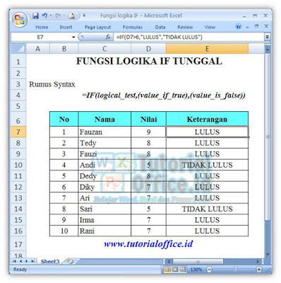 FUNGSI IF TUNGGAL