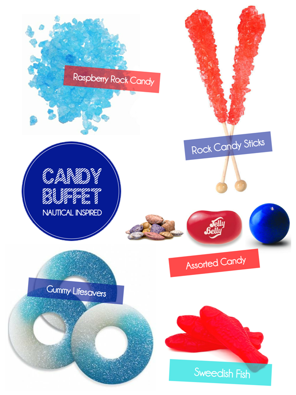 How to Style a Nautical Red, White & Blue Candy Buffet - via BirdsParty.com