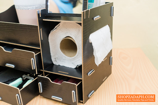 wooden makeup case with tissue paper holder