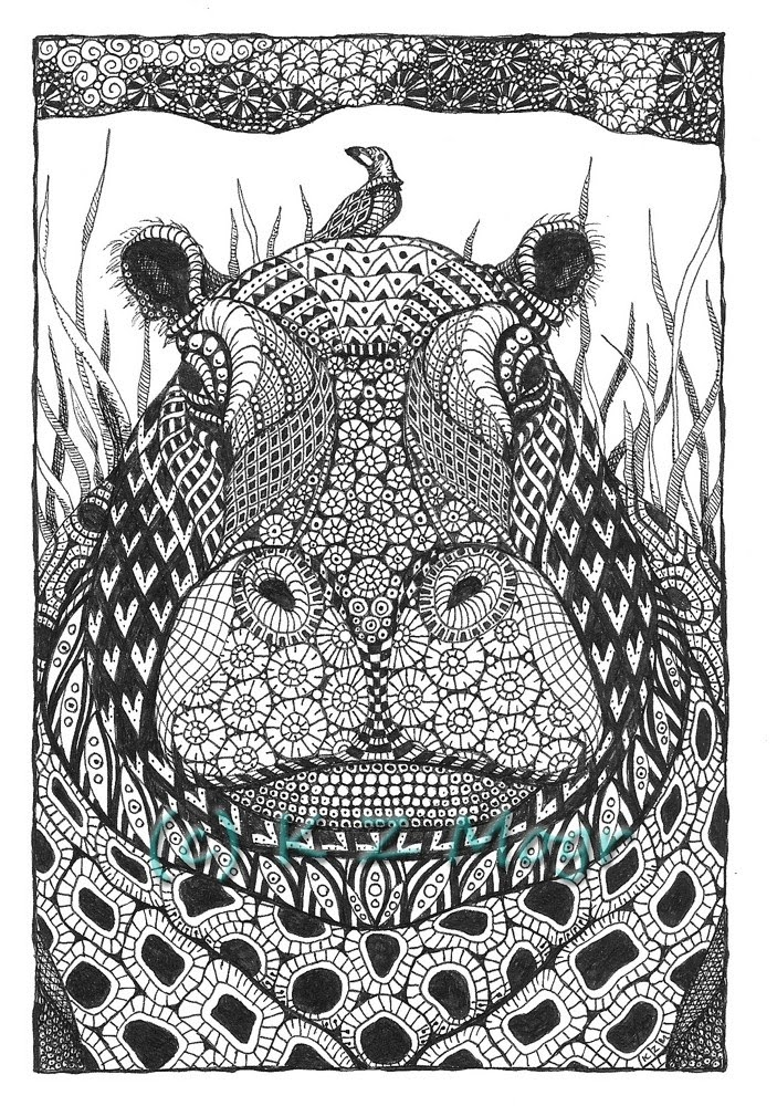 07-Hippo-Kristin-Moger-Animal-Portraits-Dressed-with-Zentangle-Textures-www-designstack-co
