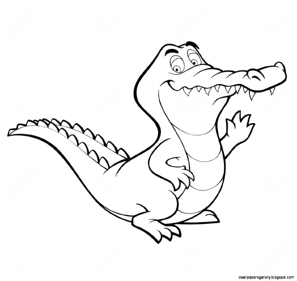 Crocodile Clipart Black And White