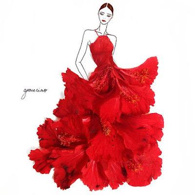 รูปที่ 1 ศิลปิน-กลีบดอกไม้ กับงานออกแบบชุดเดรสที่เห็นแล้วต้องอึ้ง