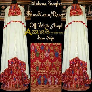 foto Mukena Songket Prada Bali Paling Anyar white angel