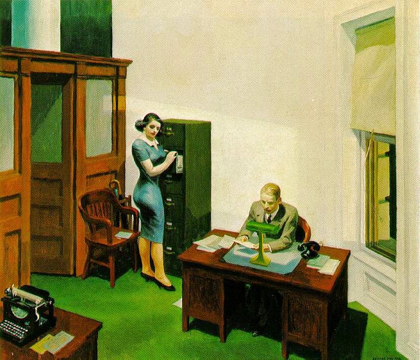 Escritório à Noite - Edward Hopper e suas principais pinturas ~ O pintor da solidão