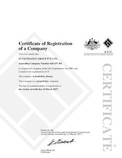 Сертификат о регистрации компании EctoTrust