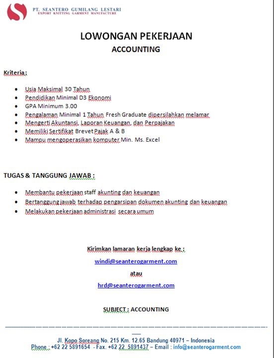 Lowongan Kerja Bandung Accounting, Admin dan HRD
