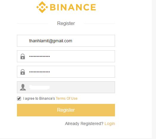 Đăng ký tài khoản sàn Binance