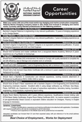 Career Opportunities in National Marine Dredging Company