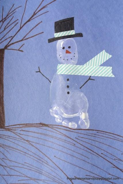 Footprint Snowman Craft For Kids Fspdt