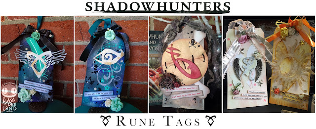 Shadowhunters Inspired Rune Tags by Alice Scraps Wonderland | The blog has information on how to recreate these amazing mixed media tags inspired by The Mortal Instruments book series by Cassandra Clare!