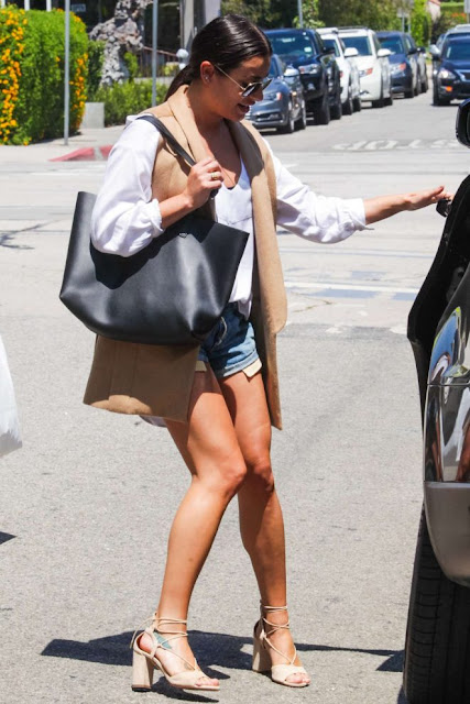 Lea Michele in Denim Shorts Shopping in Beverly Hills