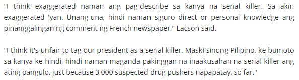 Sotto, Lacson, Pimentel Outraged At French Newspaper's Article Calling Duterte A Serial Killer