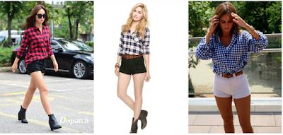 kết hợp áo sơ mi caro nữ và quần short