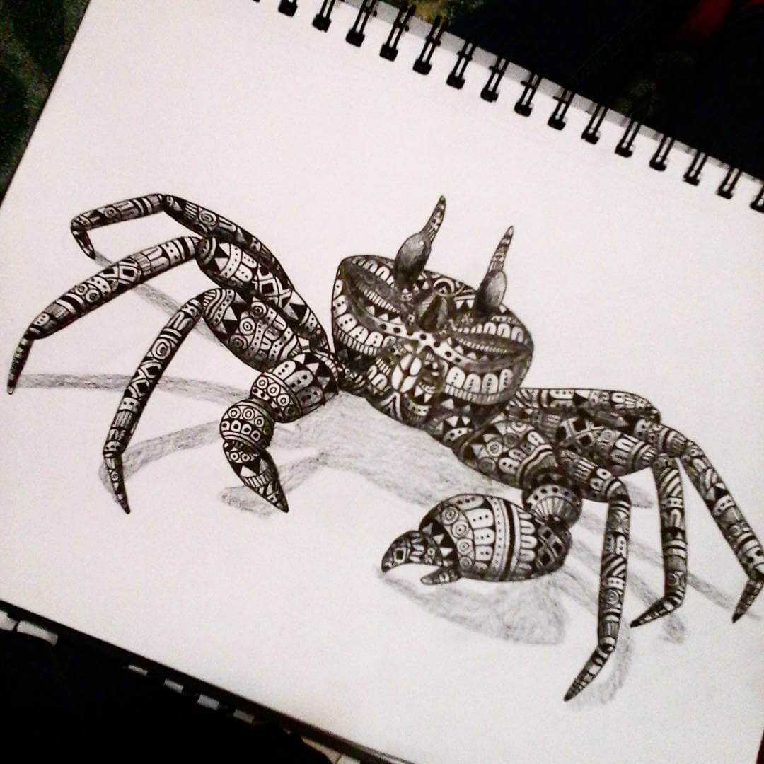 09-Crab-Savanna-Zentangle-Wild-Animal-Drawings-www-designstack-co