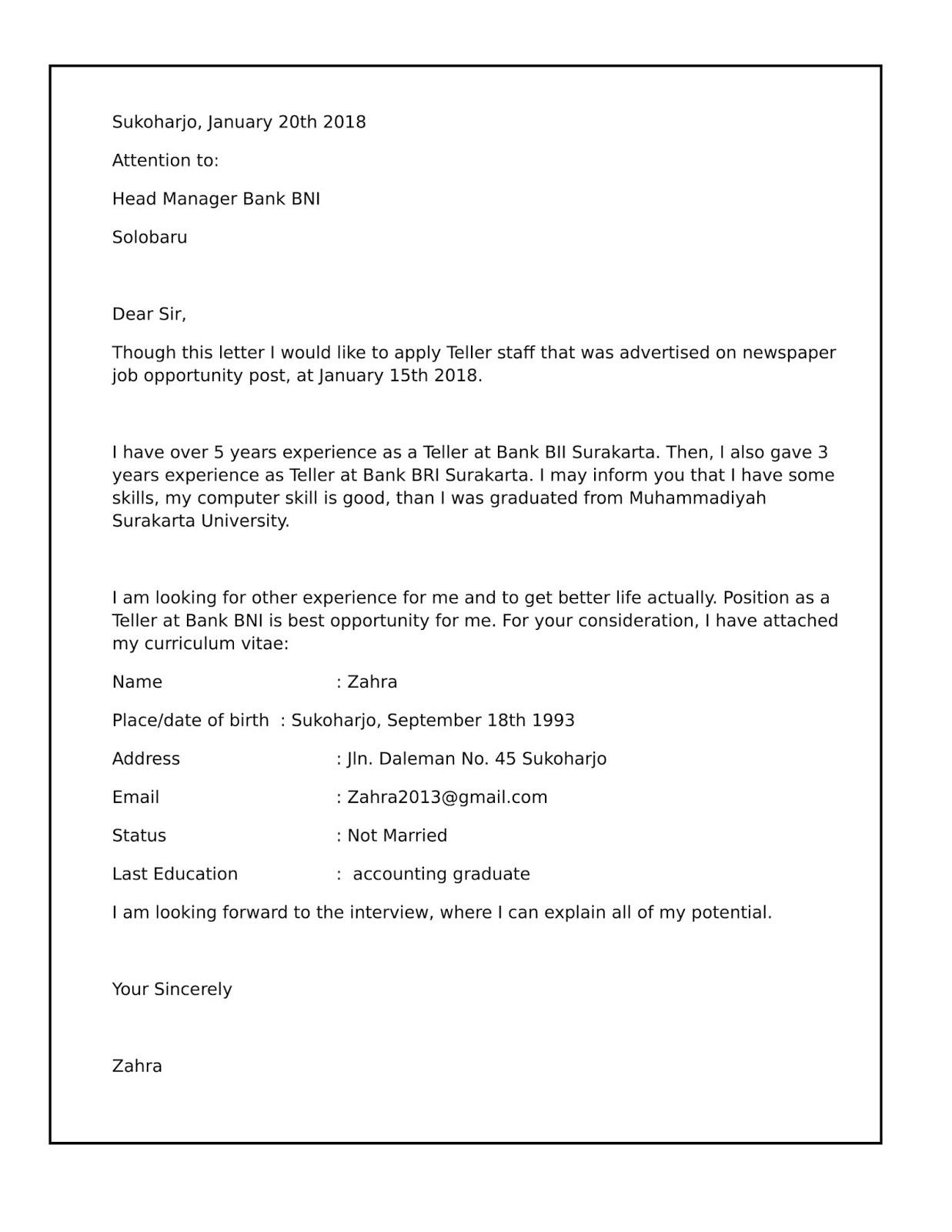 Contoh Surat Lamaran Kerja Di Bank Bri Mandiri Bni Bca Muamalat