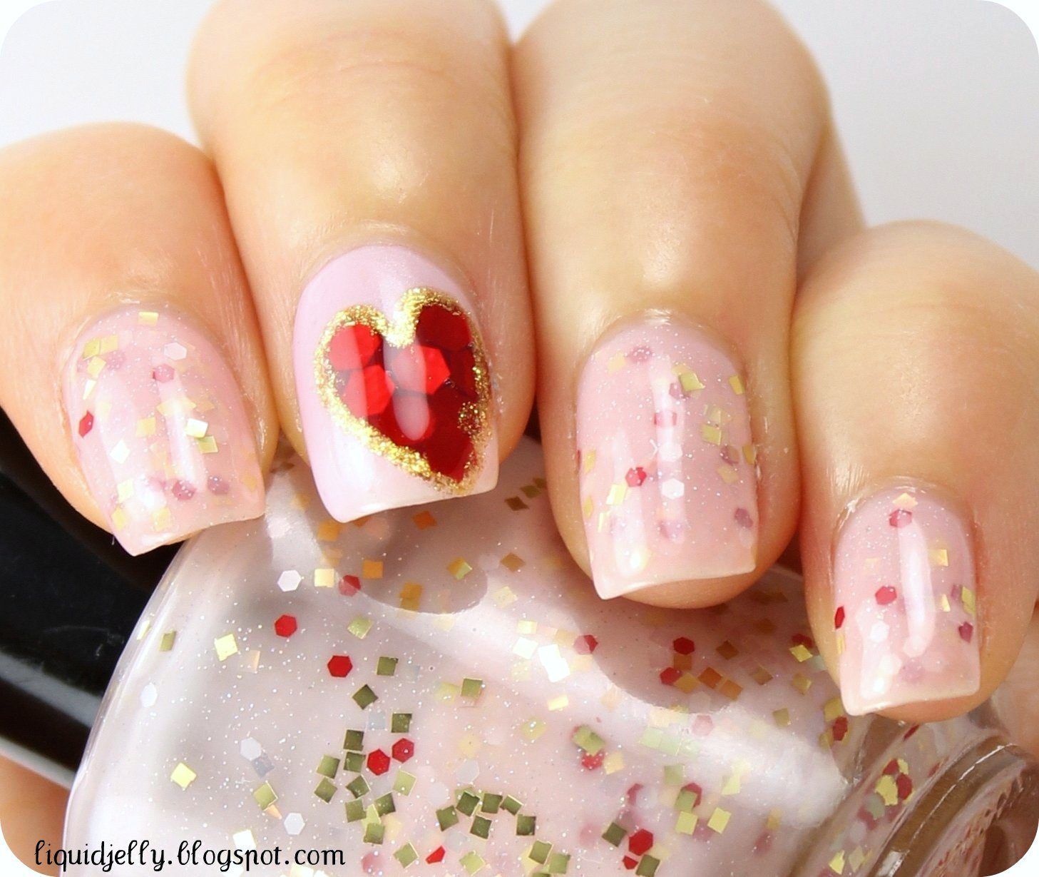 Liquid Jelly: VDAY: Sequin Heart Nail Art