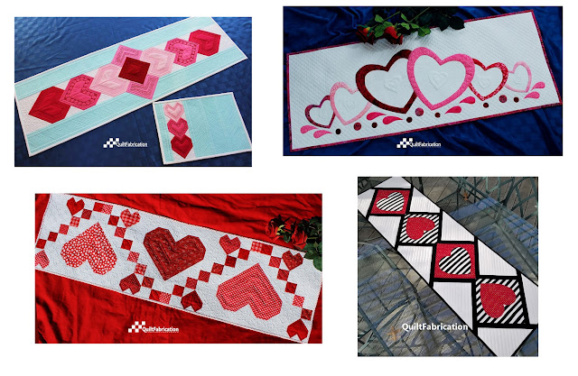 Valentine Table Runner patterns by QuiltFabrication