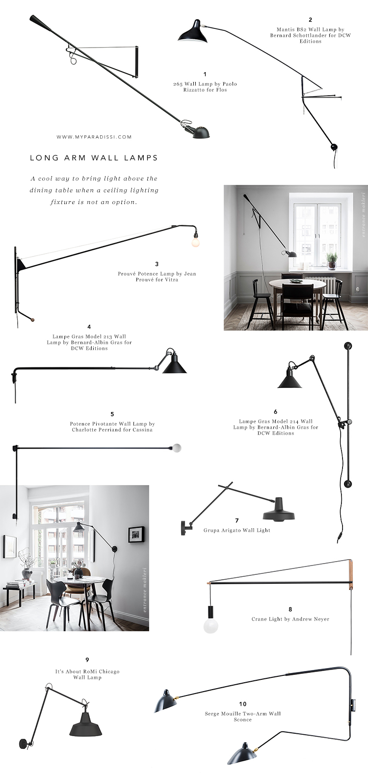How to light a dining room without a ceiling light, alternative dining room lighting ideas, lighting above the dining table, swing arm wall lamp above the dining table, long arm wall lamp in the dining room