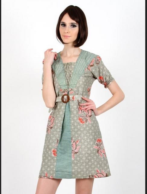 baju batik dress pendek kombinasi