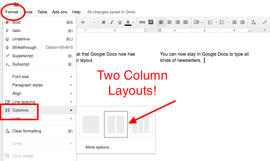 Scott Sibberson Google Docs Two Column Layout