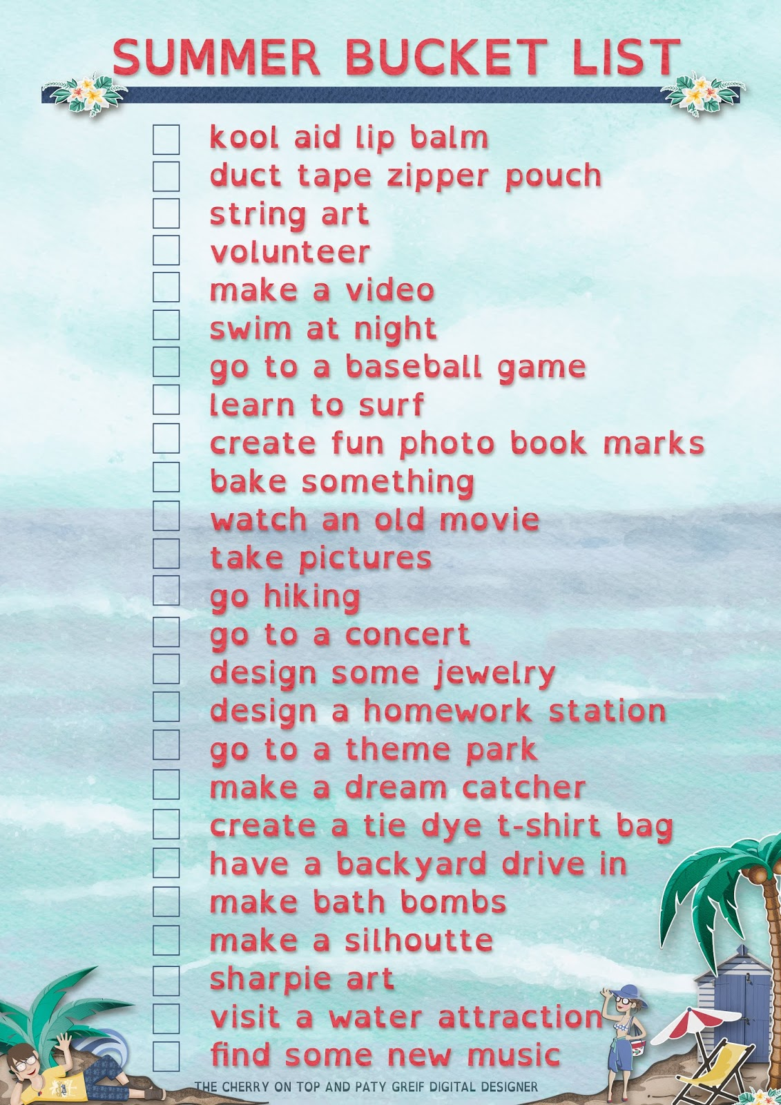 The Cherry On Top Free Summer Bucket List Printables From