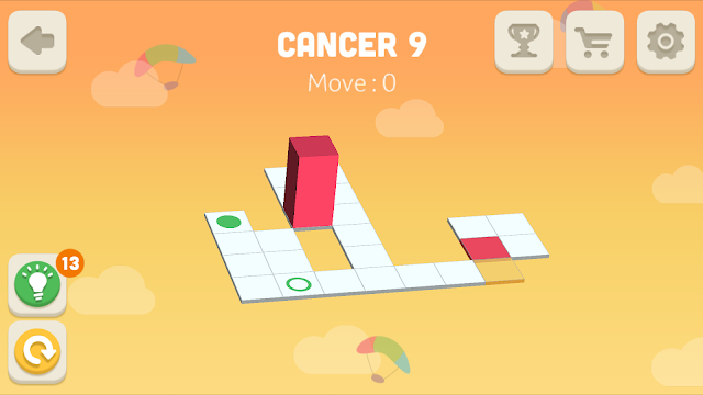 Bloxorz Cancer Level 9 step by step 3 stars Walkthrough, Cheats, Solution for android, iphone, ipad and ipod