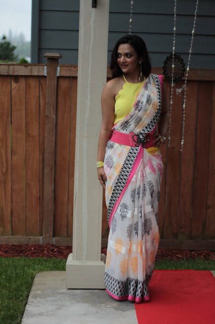 how to style a saree, glameve saree, ethnic fashion, Saree in a modern style, indian fashion blogger in a saree