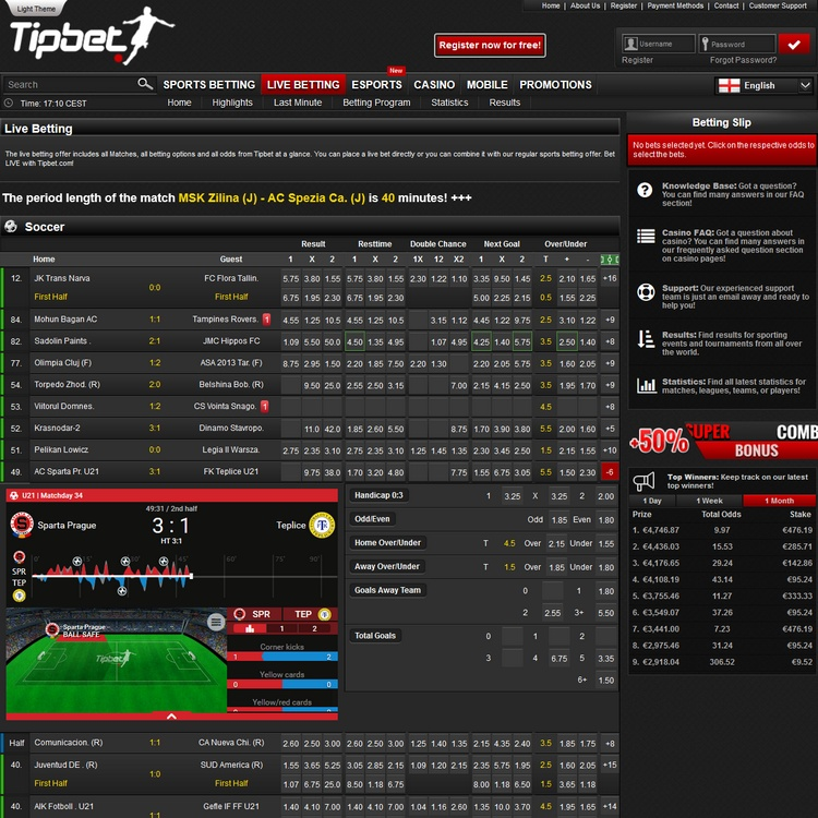 Tipbet Live Betting Offers