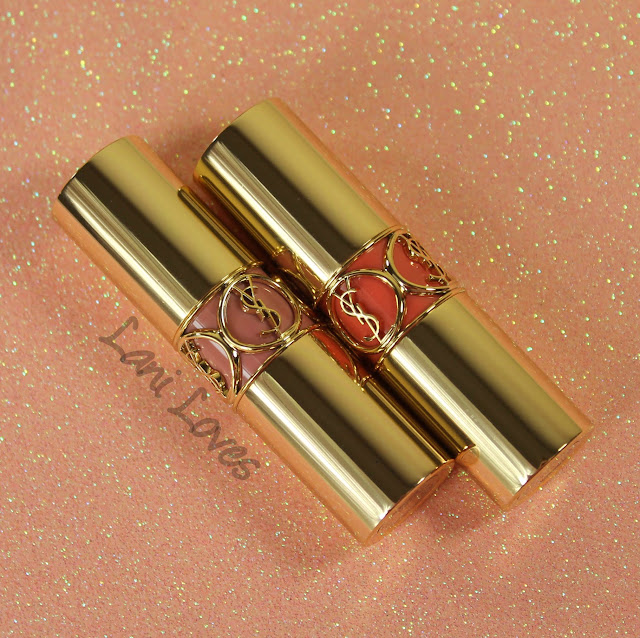 YSL Rouge Volupte - Nude Beige and Peach Passion Swatches & Review