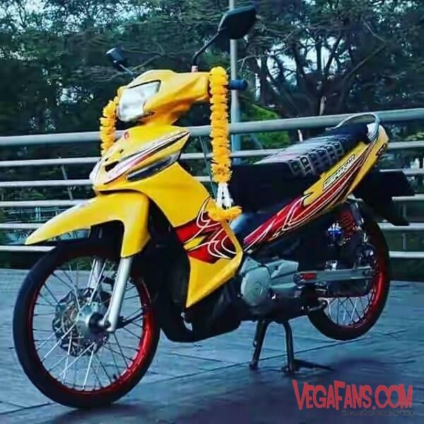 Vega ZR Modif Thailook Kuning Simple Ban Kecil Jari Jari