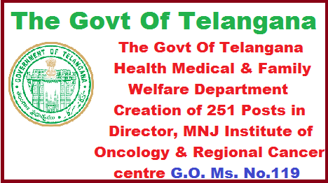 The Govt Of Telangana Health Medical & Family Welfare Department Creation of 251 Posts in Director, MNJ Institute of Oncology & Regional Cancer centre G.O. Ms. No.119. Dated 13-07-2017. HM&FW DEPARTMENT – Creation of 251 posts in Director, MNJ Institute of Oncology & Regional Cancer Centre, MNJIO&RCC Hyderabad under the control of Health Medical & Family Welfare Department – Orders - Issued. the-govt-of-telangana-hm-and-fw-department-creation-of-251-posts-in-director-mnj-institute-of-oncology-and-regional-cancer-centre.