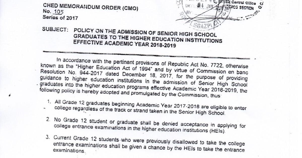 College Admission Policy for Senior High School Graduates S Y  2017