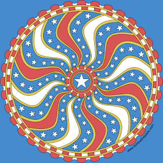 Stars and Stripes mandala with a blank version to print and color