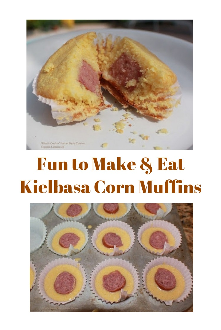 these are a kielbasa stuffed corn muffins made in a cupcake tin and baked. These are fun food for kids to eat and easy to make in minutes. Great as a corn muffin kielbasa or hotdog snack, dinner or brunch